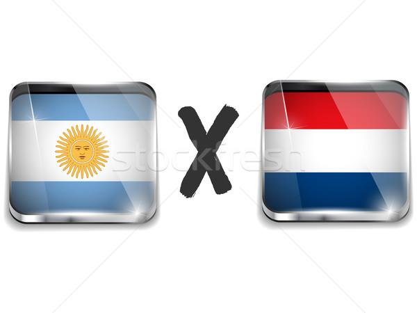 Argentyna Niderlandy banderą piłka nożna gry wektora Zdjęcia stock © gubh83