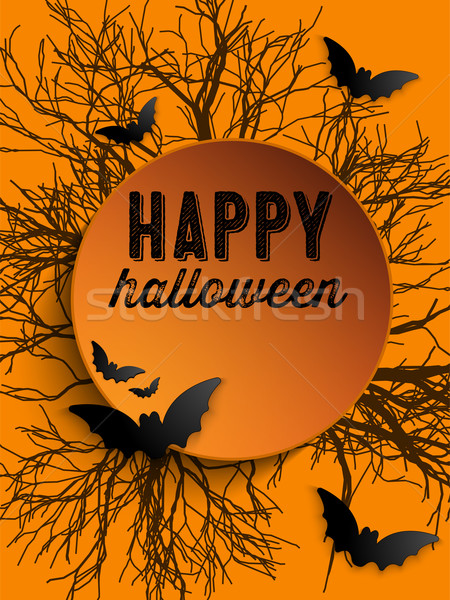Feliz halloween fantasma bat ícone gato Foto stock © gubh83