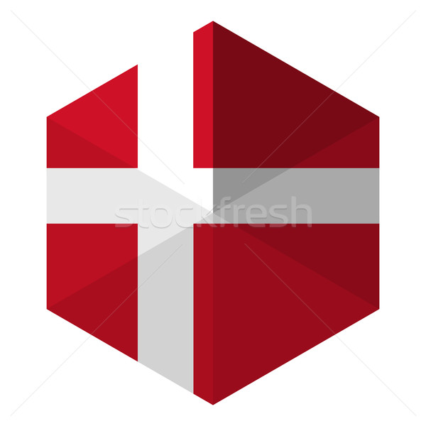 Denemarken vlag zeshoek icon knop wereld Stockfoto © gubh83