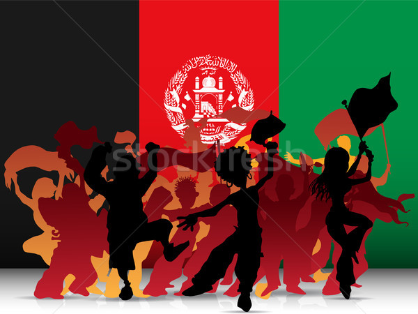 Afghanistan Sport Fan Crowd with Flag Stock photo © gubh83