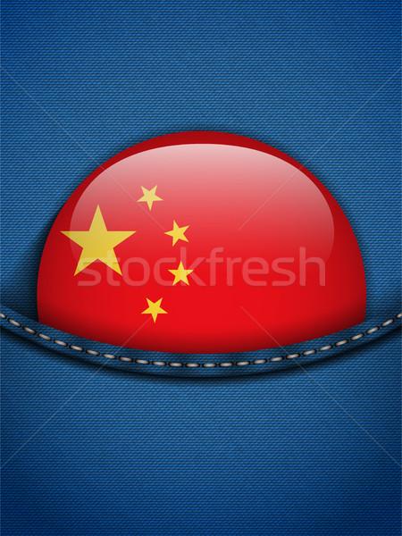 Chiny banderą przycisk dżinsy kieszeni wektora Zdjęcia stock © gubh83