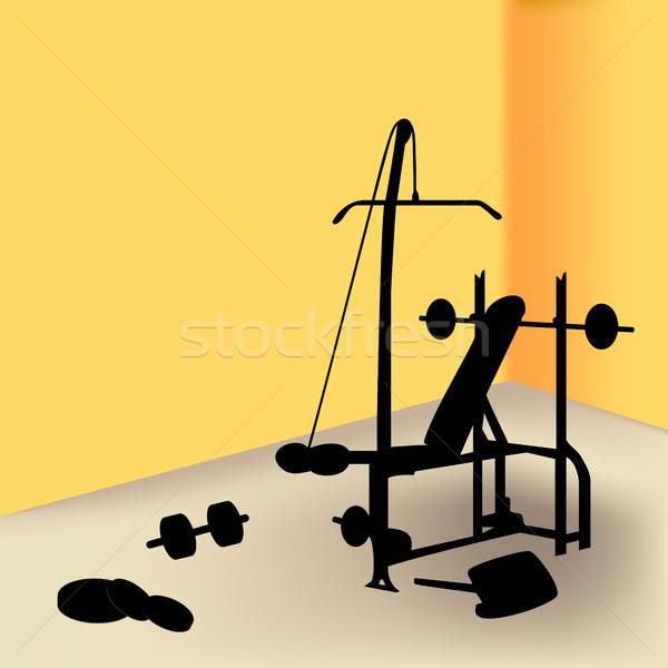 Spor salonu sarı oda duvar uygunluk Stok fotoğraf © gubh83
