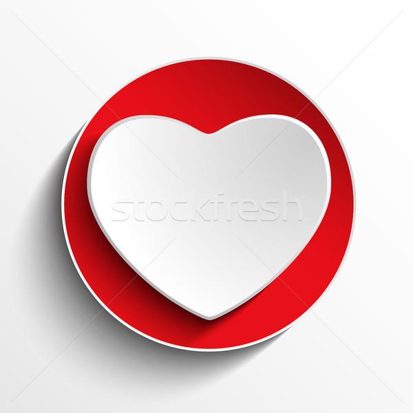 Valentine gün kalp beyaz düğme vektör Stok fotoğraf © gubh83