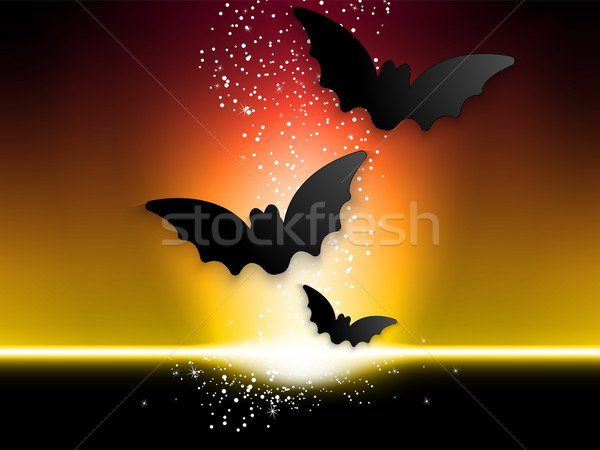 Happy Halloween Ghost Bat Icon Background Stock photo © gubh83