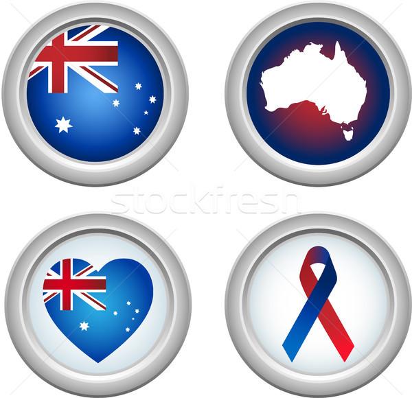 Austrália botões fita coração mapa bandeira Foto stock © gubh83