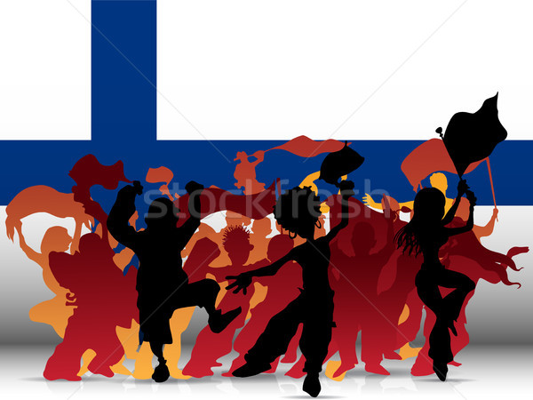 Finland Sport Fan Crowd with Flag Stock photo © gubh83