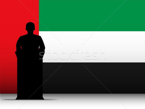 Birleşik Arap Emirlikleri konuşma siluet bayrak vektör adam Stok fotoğraf © gubh83