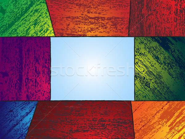 Ahşap renkli ahşap metin kutu vektör Stok fotoğraf © gubh83