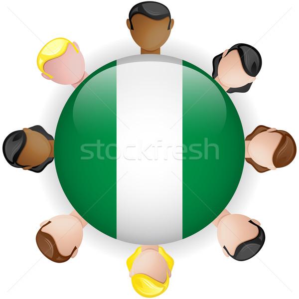Nigéria bandeira botão trabalho em equipe pessoas grupo Foto stock © gubh83