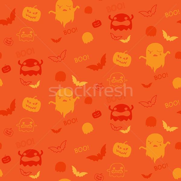Vector halloween spook bat pompoen Stockfoto © gubh83