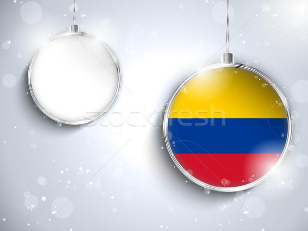 Alegre natal prata bola bandeira Colômbia Foto stock © gubh83