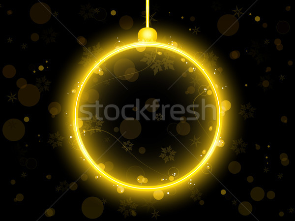 Golden Neon Christmas Ball on Black Background Stock photo © gubh83