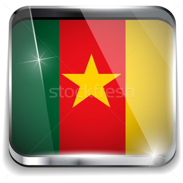 Kamerun banderą smartphone aplikacja placu przyciski Zdjęcia stock © gubh83