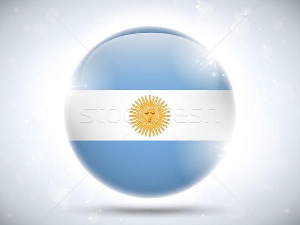 Аргентина флаг кнопки вектора стекла Сток-фото © gubh83
