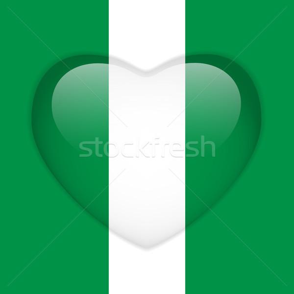 Foto stock: Nigéria · bandeira · coração · botão · vetor