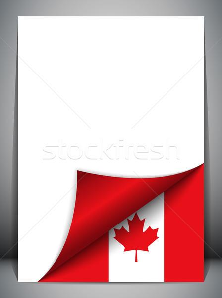 Kanada vidék zászló oldal vektor felirat Stock fotó © gubh83