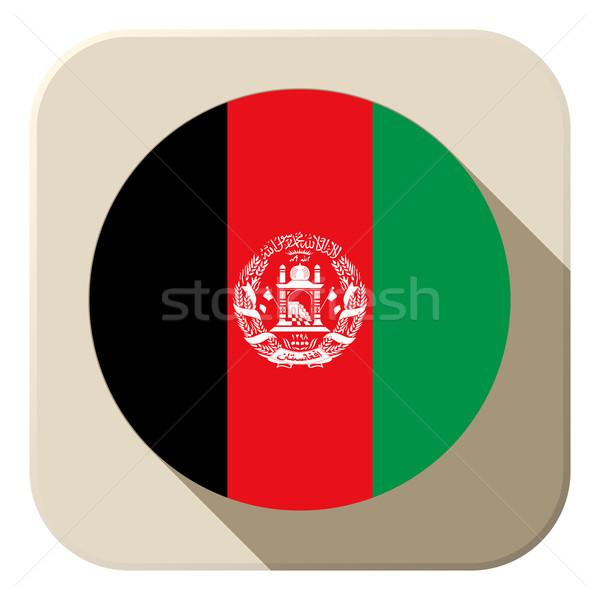Afganisztán zászló gomb ikon modern vektor Stock fotó © gubh83
