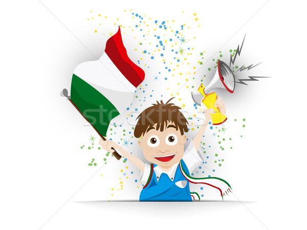 Italia fútbol ventilador bandera Cartoon vector Foto stock © gubh83
