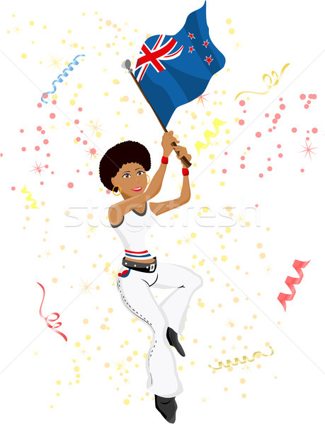 Stock photo: Black Girl New Zealand Soccer Fan with flag.