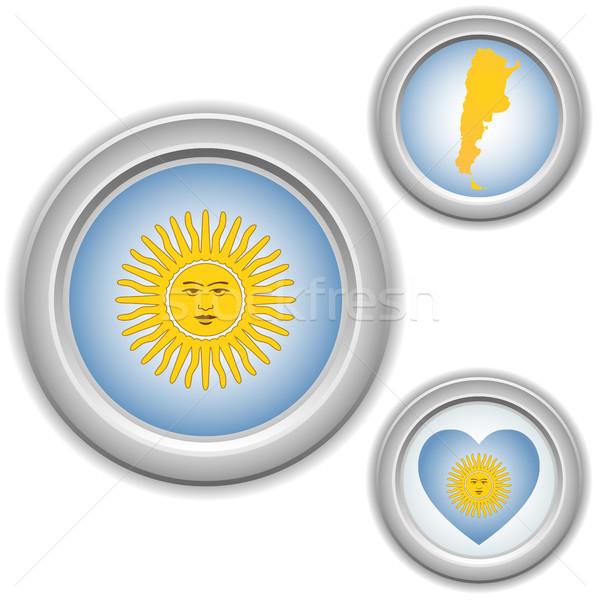Argentina botones corazón mapa bandera vector Foto stock © gubh83