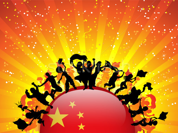 China Sport Fan Crowd with Flag Stock photo © gubh83