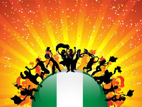 Nijerya spor fan kalabalık bayrak vektör Stok fotoğraf © gubh83