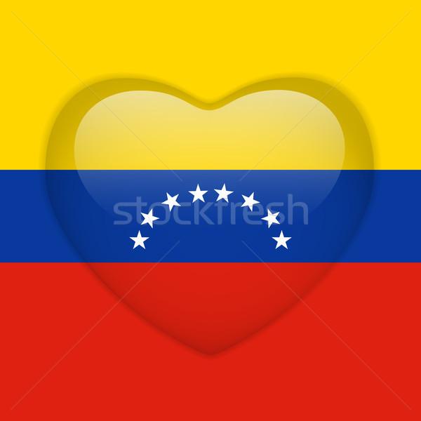 Venezuela zászló szív fényes gomb vektor Stock fotó © gubh83