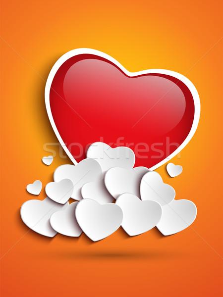 Anya nap szív felhők narancs vektor Stock fotó © gubh83