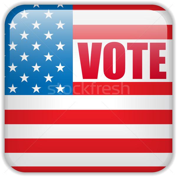 Stock fotó: Egyesült · Államok · választás · szavazás · gomb · vektor · kék