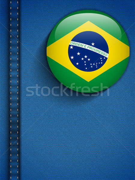 Brazilië vlag knop jeans zak vector Stockfoto © gubh83