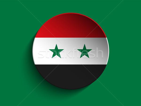 Vlag papier cirkel schaduw knop Syrië Stockfoto © gubh83