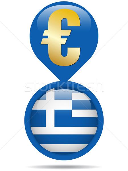 Banderą przycisk Grecja euro kryzys wektora Zdjęcia stock © gubh83