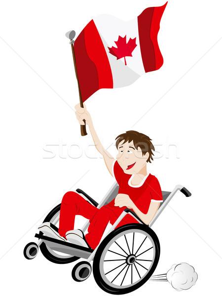 Kanada Sport Fan Anhänger Rollstuhl Flagge Stock foto © gubh83