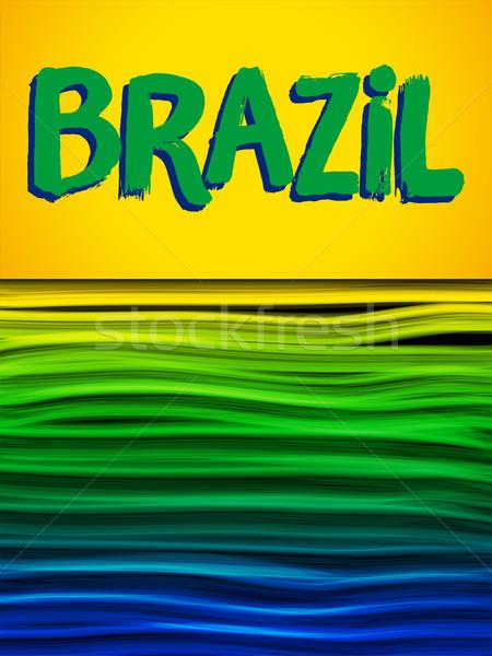 Brasil bandeira onda amarelo verde azul Foto stock © gubh83