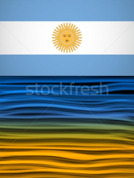 Argentína zászló hullám citromsárga fehér kék Stock fotó © gubh83