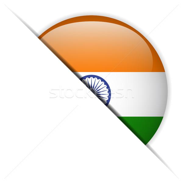 Индия флаг кнопки вектора стекла Сток-фото © gubh83