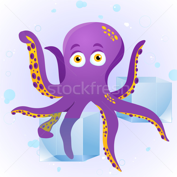 Octopus Fortune Teller with Crystal Cube. Stock photo © gubh83
