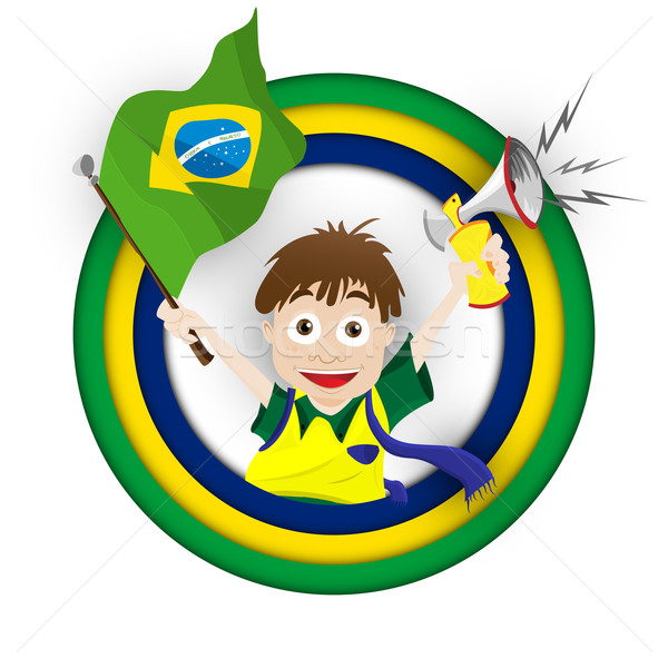 Brazília sport ventillátor zászló duda vektor Stock fotó © gubh83