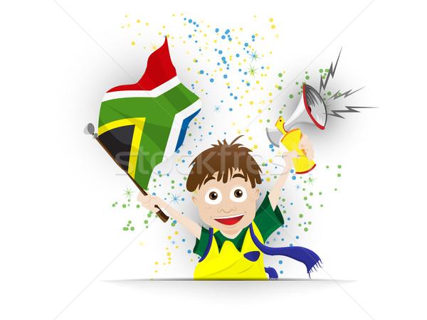 South Africa voetbal fan vlag cartoon vector Stockfoto © gubh83
