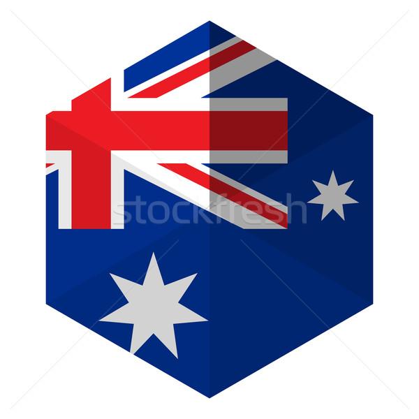 Ausztrália zászló hatszög ikon gomb világ Stock fotó © gubh83