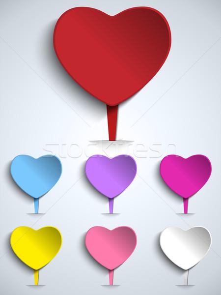Ingesteld Valentijn dag kleurrijk hart knop Stockfoto © gubh83