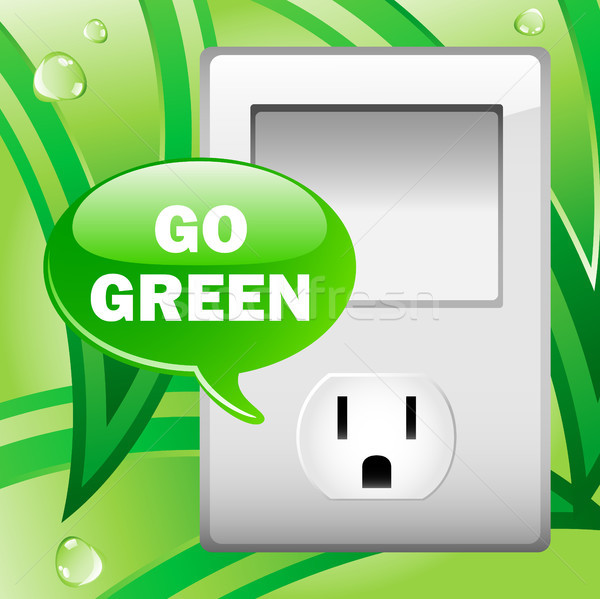 Go Green Electric Outlet with leaves background.  Stock photo © gubh83