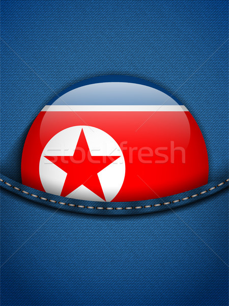 North Korea Flag Button in Jeans Pocket Stock photo © gubh83