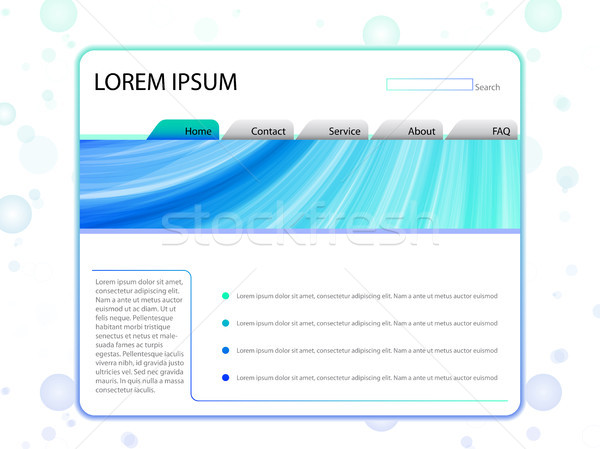 White Website Layout Template in Blue Stock photo © gubh83