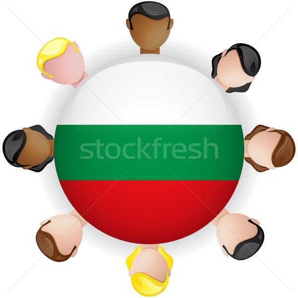 Bulgária zászló gomb csapatmunka emberek csoport Stock fotó © gubh83