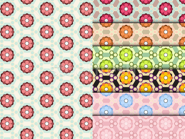 Seamless Flower Pattern Colorful Set Vector Stock photo © gubh83