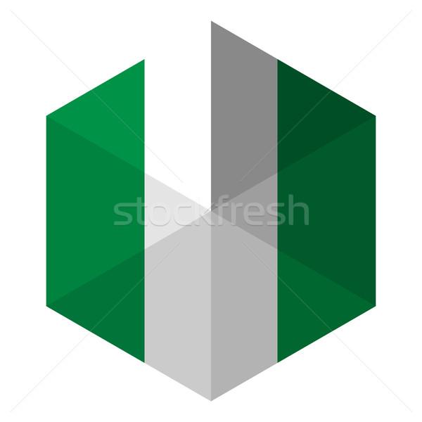 Nigéria zászló hatszög ikon gomb világ Stock fotó © gubh83
