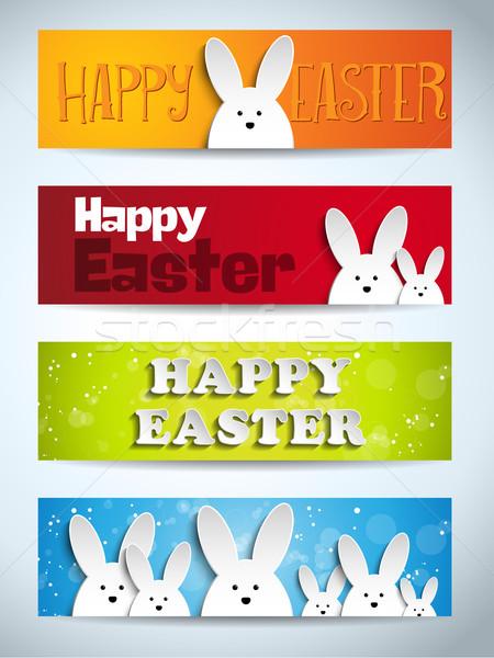 Stok fotoğraf: Iyi · paskalyalar · tavşan · tavşan · ayarlamak · afişler · vektör