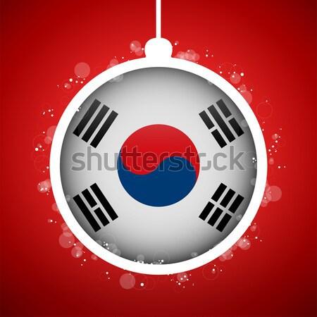 Merry Christmas Red Ball with Flag South Korea Stock photo © gubh83