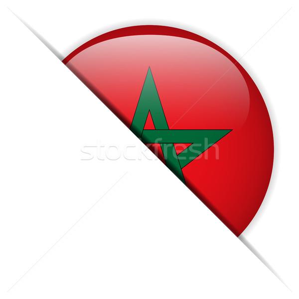 Marokkó zászló fényes gomb vektor szeretet Stock fotó © gubh83